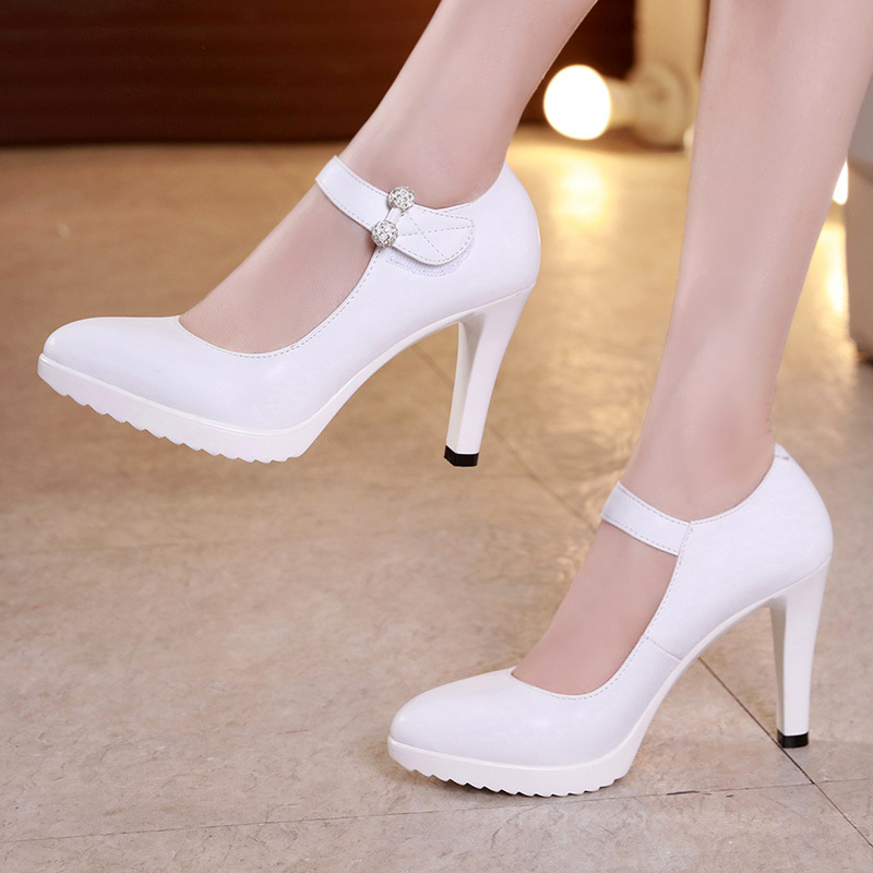 e415e21959db Plus Size 33-43 Pointed Toe Women s Pumps New 2019 Rhinestone Ankle Buckle High  Heels