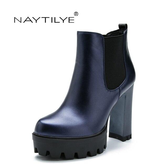 6ed4411275 De salto alto botas de couro ECOLÓGICO PU Slip-On Ankle Boots para a mulher
