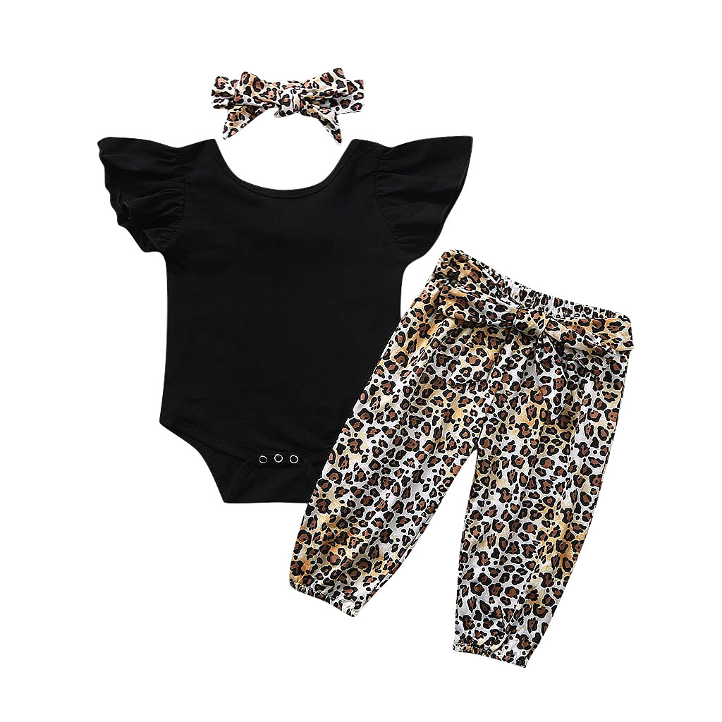 Infant Baby Clothes For Newborn Girls Solid Cotton Romper Bodysuit+Leopard Print Pants+Headband Outfits For  0 To 24 Months Z722