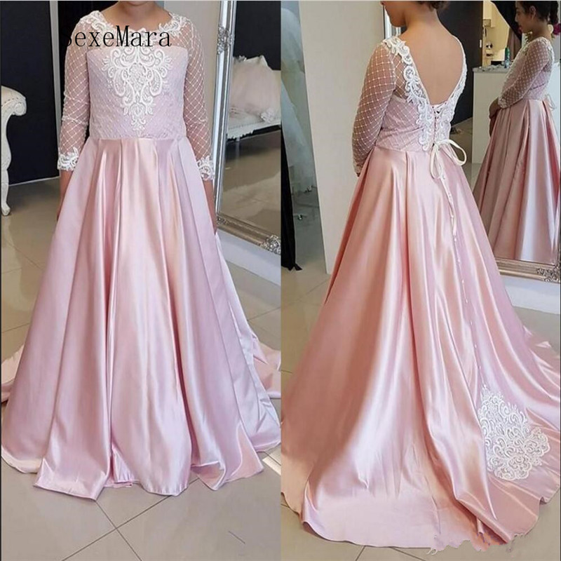 2019   Girls   Pageant Gowns with Pink Satin and White Lace Appliques New Arrivals Reasonable Price   Flower     Girl     Dress   Custom Made