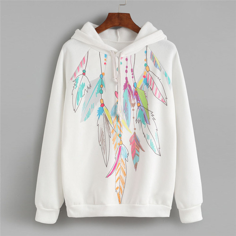 New Style Womens Female Feather Print Long Sleeve Hoodie Sweatshirt Hooded Pullover Blouse Fashion Hot Sales Blouse Wolovey#20