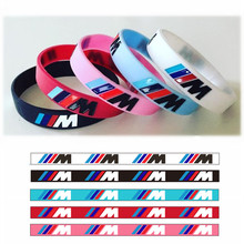 100pcs M Power Sport Bracelet for BMW Club Fans Bimmer Silicone Wristband ///M Luminous Hologram Rubber Bangle All Series Gifts