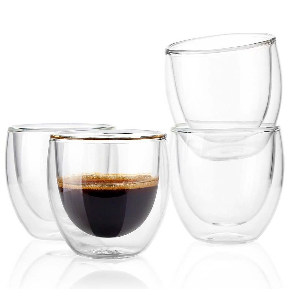 2pcs 4pcs 6pcs double layers80ML heat resistant glass materal coffee tea cups double layer 100% handmade exquisite cup glass cup