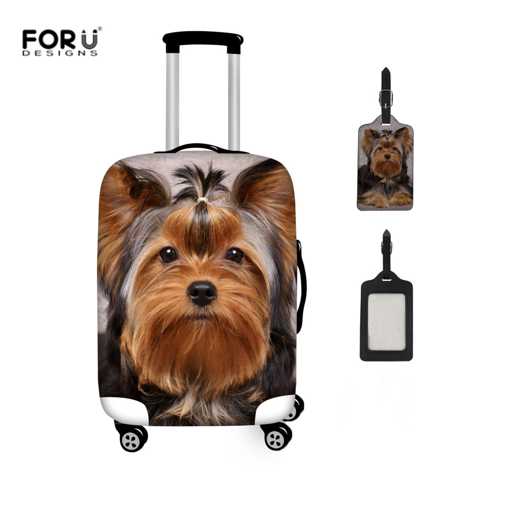 FORUDESIGNS Yorkshire Terrier Print Luggage Cover Thicker Elastic Trolley Case Cover Suitcase Protect Covers For 18-32 Inch Case