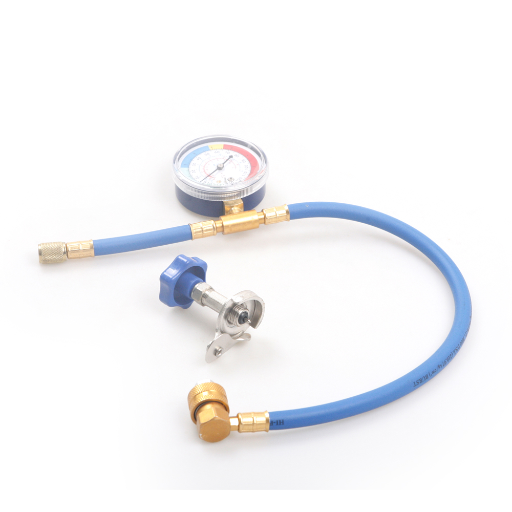 US Stock Warehouse R134A R12 R22 Car Air-Conditioning Refrigerant Recharge Hose&Low Pressure Gauge&Safety Valve Bottle Opener 3pcs lot new r410 r22 air refrigeration charging adapter refrigerant retention control valve air conditioning charging valve
