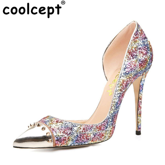 COOLCEPT Damen High Heel Pumps Glitter