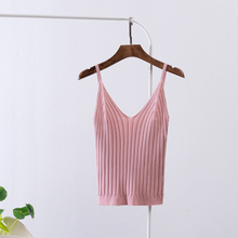 Sexy Knitted Crop Top Crop Sleeveless Cropped Vest Women Slim Sling Knitted Tank Top V-neck Plain Camisole High Elastic Camis