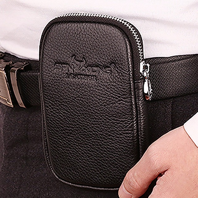 9427c6184105 Men Genuine Leather Cowhide Cell/Mobile Phone Case Skin Belt Waist Bag  Casual Vintage Male