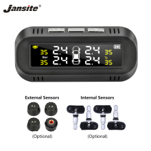 Jansite Solar Car TPMS Tire Pressure Alarm Monitor System Display Windshield Intelligent Security Warning Tyre with Four Sensors