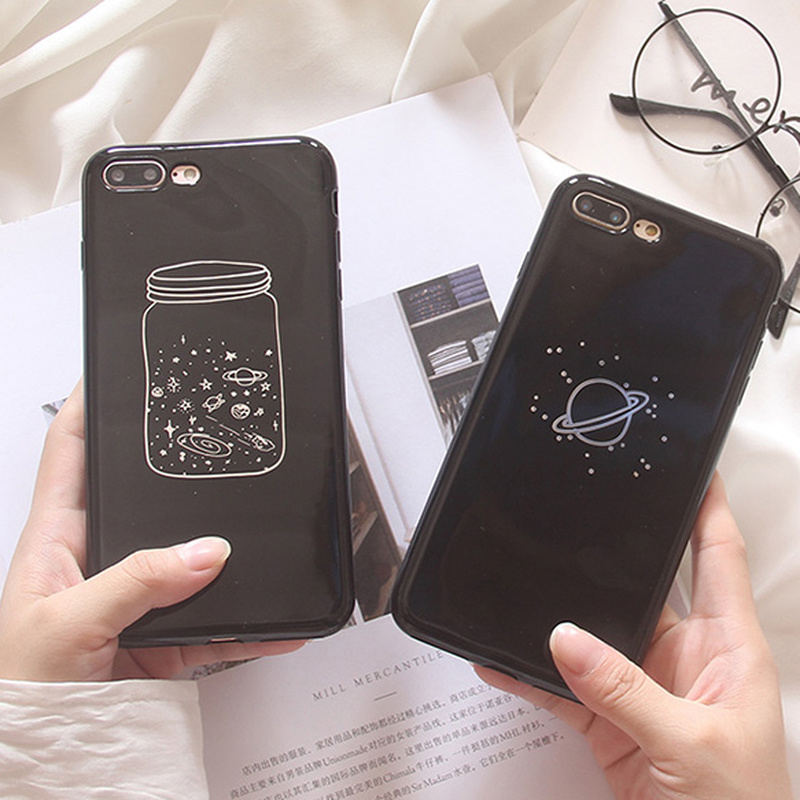 Fashion Cartoon Wishing Bottle Planet Moon Soft TPU Case For iPhone 6 6S 7 8 Plus X XS MAX XR Cute Space Planet Stars Cover Caqa in Fitted Cases from Cellphones Telecommunications