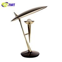 FUMAT Modern Karaoke Table Lamps Creative Simple Plated Metal Bedroom Table Light Living Room Study Metal Desk Lamp H50cm