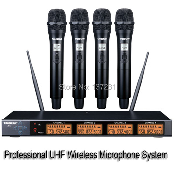 top boutique takstar x4 professional uhf pll four channels wireless microphone system 4 channels. Black Bedroom Furniture Sets. Home Design Ideas