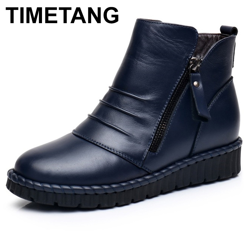TIMETANG Fashion Winter Boots Woman Genuine Leather Wedges Boots Mother Flat Ankle Boots Women Casual Warm Snow BootsFemale E248 недорго, оригинальная цена