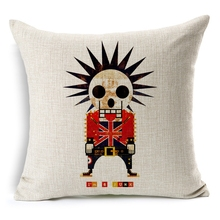 Hot Sale Pillow Covers Creative The Dead Walking Skull Pattern Fashion 45X45CM Linen Pillow CoverHome Decorative Linen Cushion
