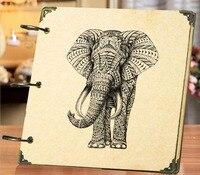 2016 سكرابوكينغ رسم ريترو الفيل هدية سفر الطفل القصاصات الحرف اليدوية ديي ألبوم الصور الإبداعية 8 بوصة شحن مجاني