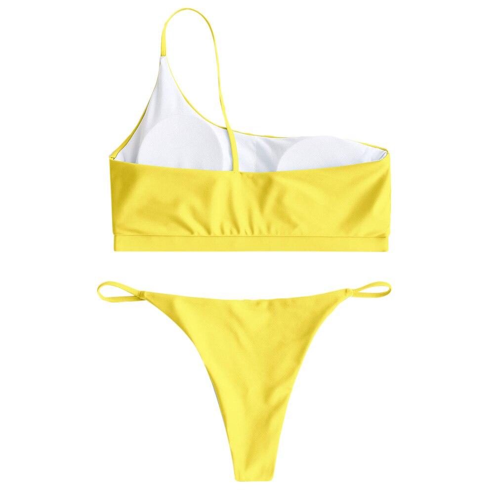 ZAFUL Swimsuit One Shoulder Padded Bikini Set Sexy Low Waisted Womnes Swimwear Summer Beach Yellow Brazilian Swimming Suit