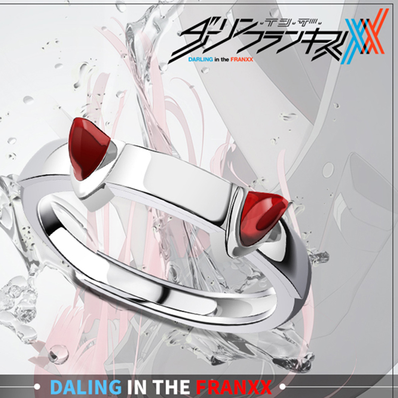 DARLING in the FRANXX Ring Cute 02 Ring Cosplay Zero Two Couple Adjustable Rings 925 Silver Jewelry for Girl Boy Women Men Gift new zero two cosplay costumes 002 darling in the franxx dyesub printed zentai bodysuit women girls lady lycra female plugsuit