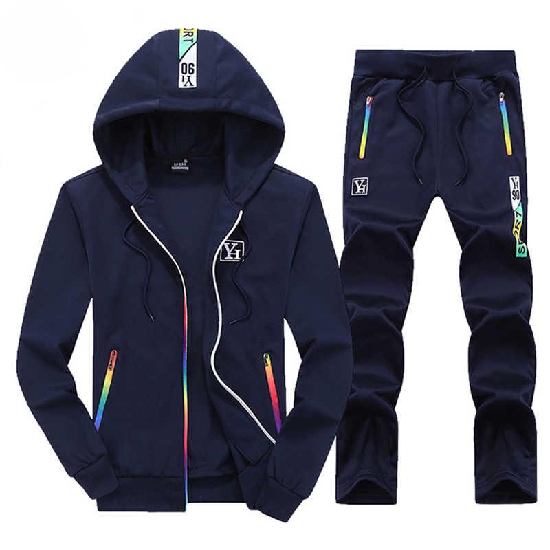 ชุดลำลองชายชุด 2019 ฤดูใบไม้ร่วงฤดูใบไม้ผลิ 2 ชิ้น Zip Hoodies เสื้อ + กางเกง Mens TRACK ชุดแบรนด์เสื้อผ้าชายชุด Sportwear