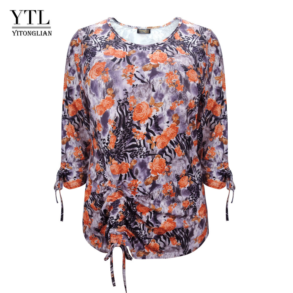 YTL Ladies Plus Size Top Autumn Comfortable Vintage Leopard Flower Pattern Office Casual Tunic Tie   Blouse     Shirt   6XL 7XL 8XL H155