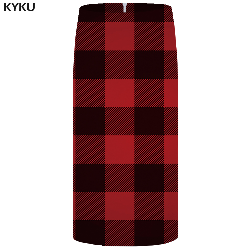 Kyku Lattice Skirts Women Red Casual Office Skirt Beautiful 3d Printed Gothic Pencil Party Ladies Skirts Womens Korean 2019 New