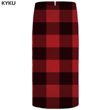 KYKU Lattice Skirts Women Red Casual Office Skirt Beautiful 3d Printed Gothic Pencil Party Ladies Skirts Womens Korean 2018 New