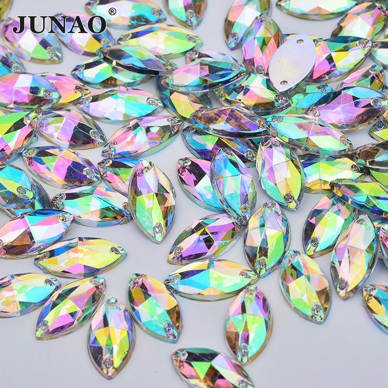 JUNAO 6*12mm 9*18mm Crystal AB Sew Rhinestones Sewing Crystals Stone Horse Eye Shape Flatback Acrylic Strass For Clothes