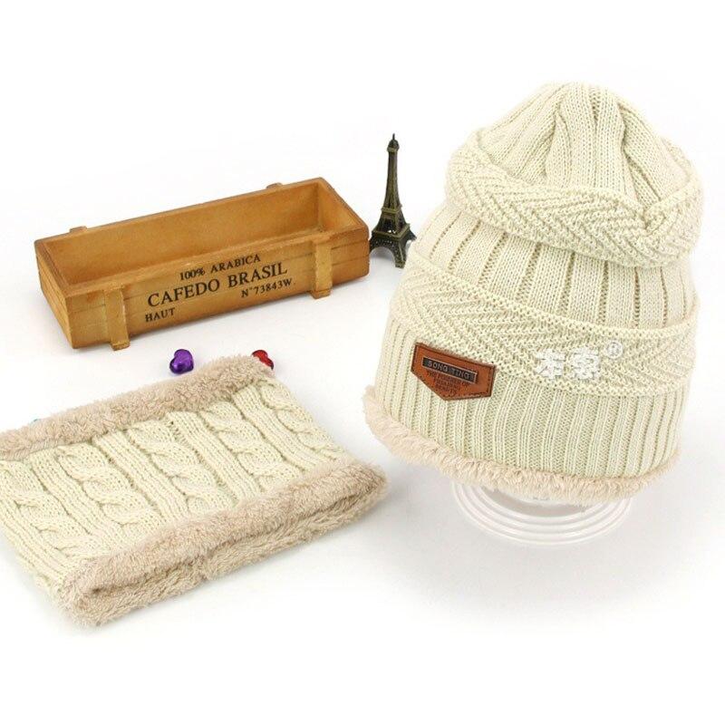 Комплект шапочки унисекс для детей и взрослых, детский толстый вязаный вельветовый головной убор и шарф, зимний теплый костюм, шапка и шарф, MZ5356 - Цвет: Бежевый