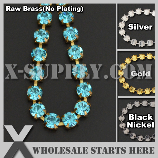 Free Shipping SS22 5mm Round Rhinestone Cup Chain,Aquamarine Rhinestones For Jewelry,Garment,Bag,Shoe Decorations