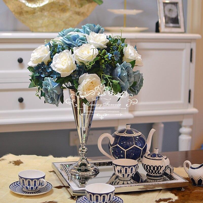 80cm Tall Wedding Flower Vase Metal Trumpet Vase For: Gold Silver Trumpet Vase Wedding Artificial Flower Vases