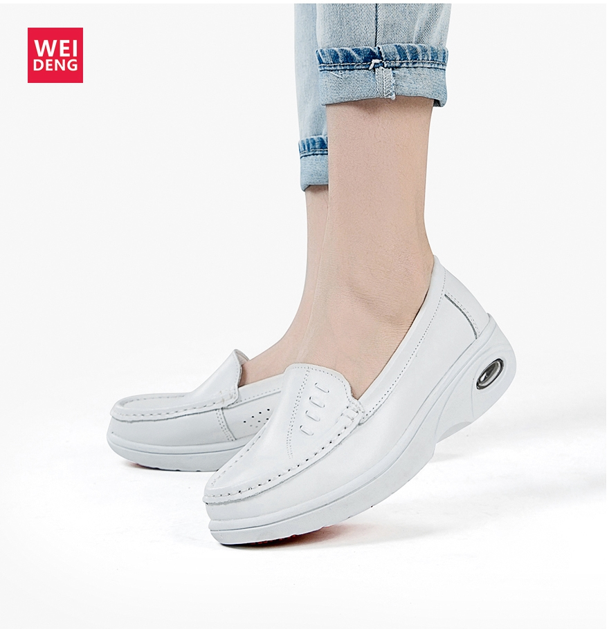 Weiden Women Nurse Shoes White Genuine Leather Work Shoes Non Slip Professional Work Wide Leisure Pad Slide Large Size