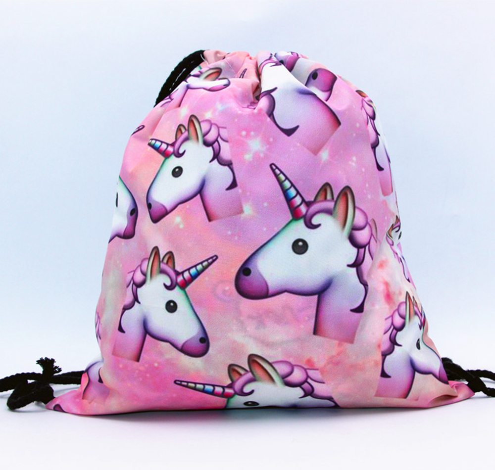 Unicorn 3D Printing Drawstring Backpack Newest Vintage College Students School Bagpack Girls Mochila Sack Bags 25 Color forudesigsn printing backpack boys 3d animal schnauzer backpacks school bags for girls college bags student backpack mochila