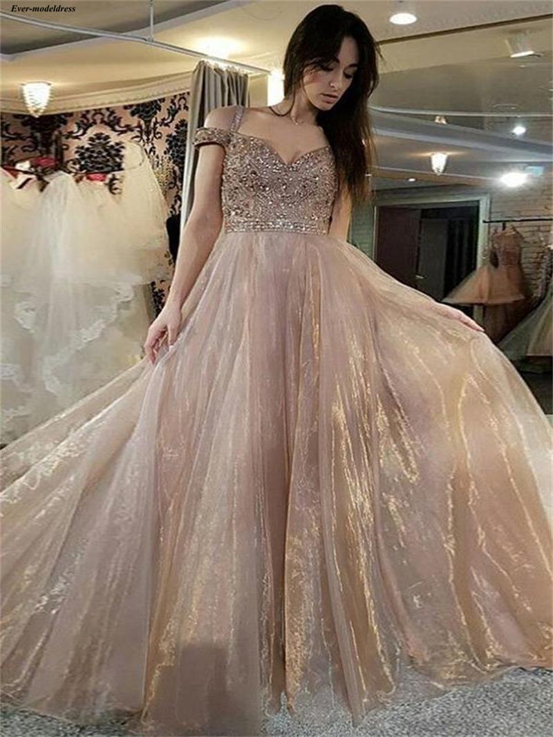Superbes robes de soirée en Organza Champagne 2019 bretelles Spaghetti perles strass une ligne arabe robes de soirée formelles robe de soirée