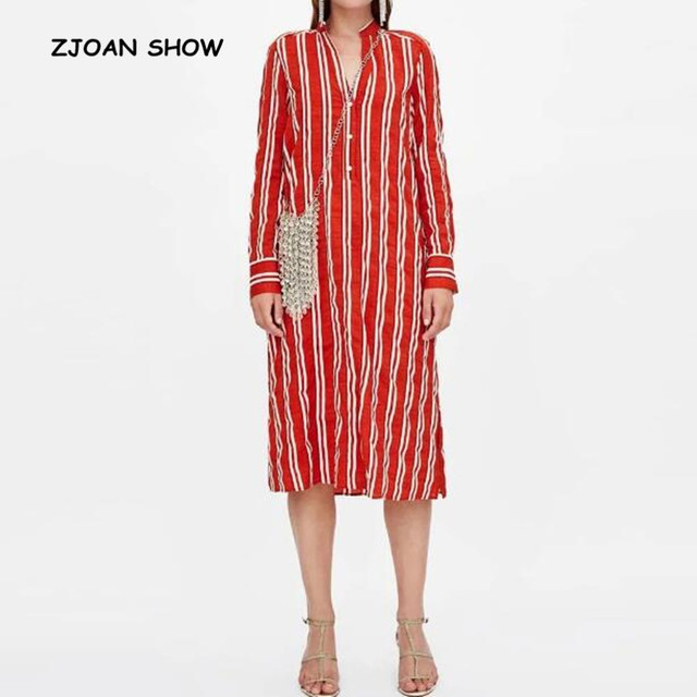 Casual Open Buttons V neck Red White Striped Shirt Dress Vintage 2018 Woman  Side Slit Long f5d54b6d6