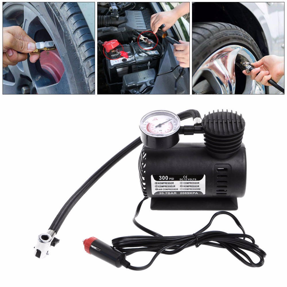300 PSI Portable Mini Air Compressor W//Gauge Auto Car Tire Infaltor Pump Black
