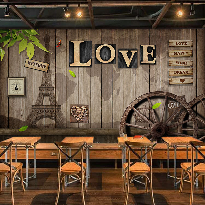 Custom Mural Wallpaper Retro European Style Cafe Dining Room Living Room Mural 3D LOVE Wooden Wheel Backdrop Decor Wall Painting