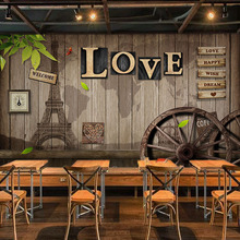 Custom Mural Wallpaper Retro European Style Cafe Dining Room Living Room Mural 3D LOVE Wooden Wheel Backdrop Decor Wall Painting цена 2017
