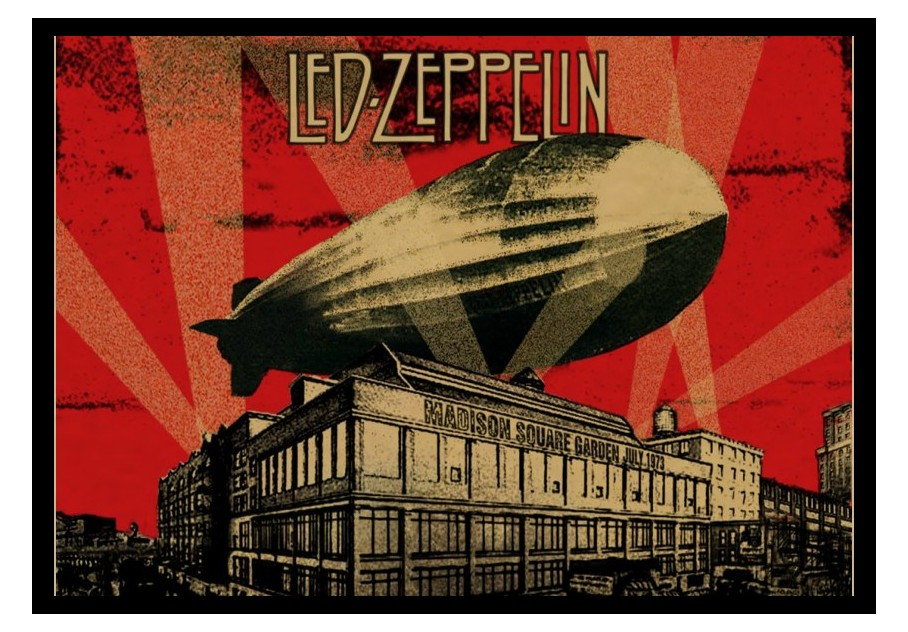 Rock n roll posters Zeppeli Led zeppelin spacecraft band European and American music retro nostalgia core decoration posters