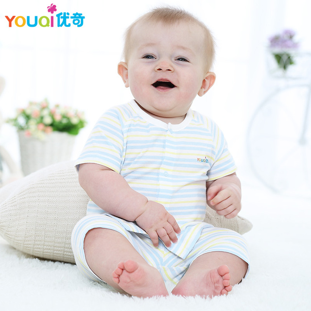 a20189453d01 YOUQI 2017 New Summer Baby Boy Girls Clothes Brand Cute Short Sleeve Top  Pants Suit 3 6 9 Months Toddler Pajamas Clothing Set