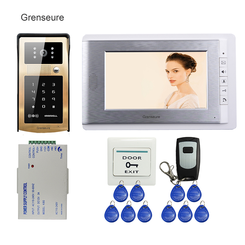 FREE SHIPPING NEW 7 inch LCD Monitor Video Intercom Door Phone System + Touch Key Metal Outdoor RFID Code Keypad Doorbell Camera brand new wired 7 inch color video intercom door phone set system 2 monitor 1 waterproof outdoor camera in stock free shipping