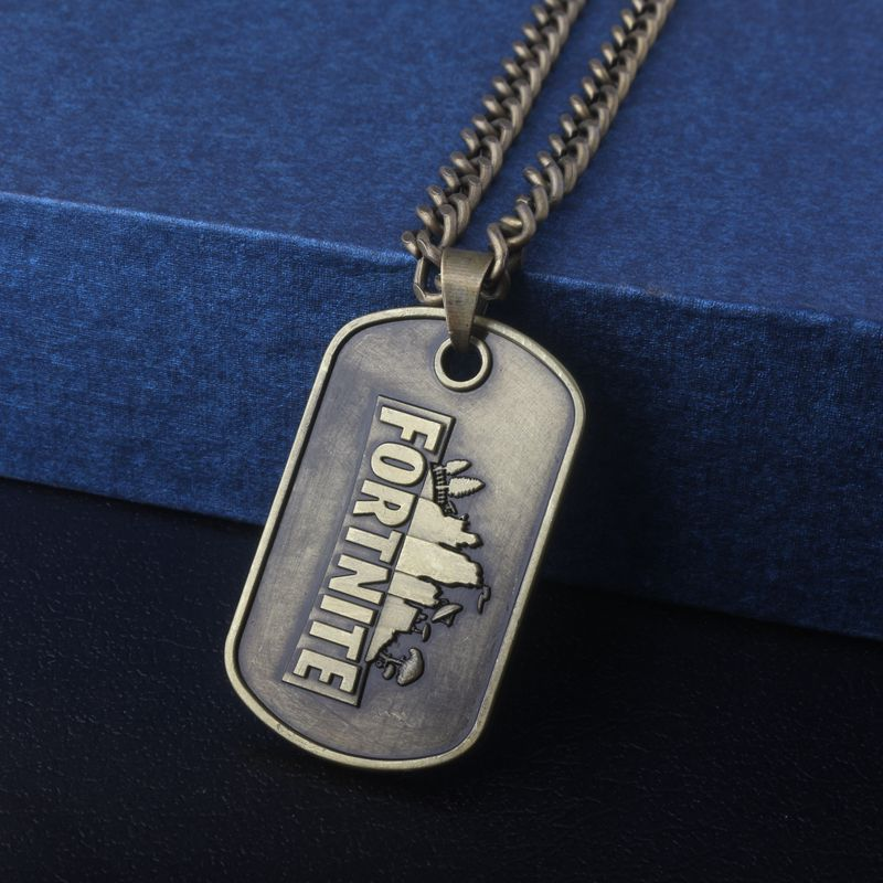 M2 Hot FPS Game Fortnite Logo Necklace Victory Royale Antique Bronze Plated Metal Pendant For Men and Wome Jewelry Drop Shipping