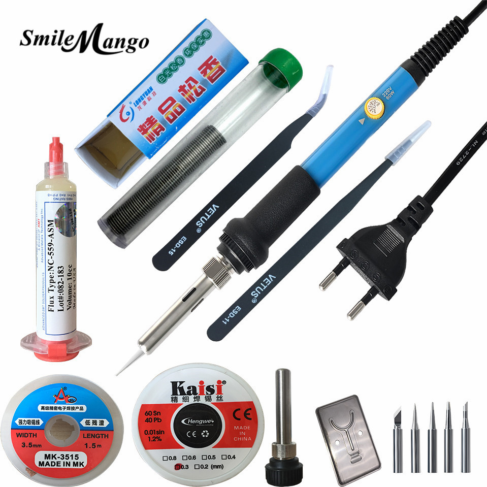 Luxury suits 60W 220V EU / US Electric Adjustable Temperature Welding Solder Soldering Iron Rework Repair Tool With