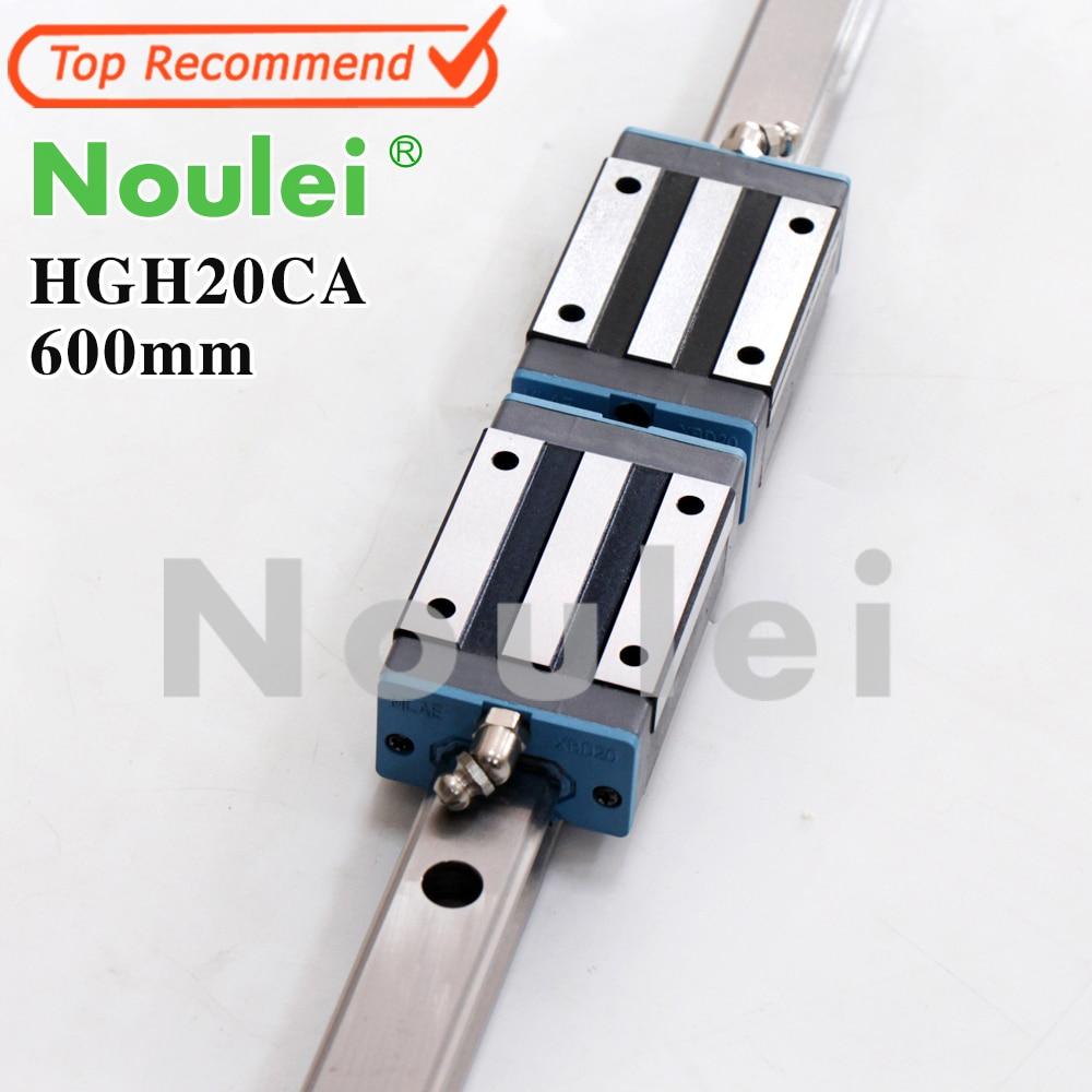 Noulei 1pcs 20mm HGR20 Linear Guide Rails 600mm HGH20 2pcs HGH20CA Carriage Block for CNC Set