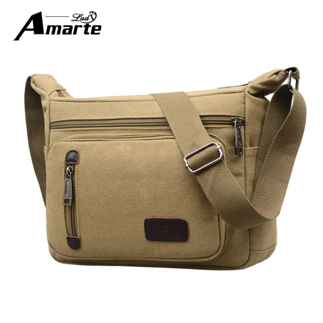 5119cad5f Amarte Men's Durable Vintage Canvas Messenger Bags Shoulder Bags Handbags  Leisure Work Travel Outing Business