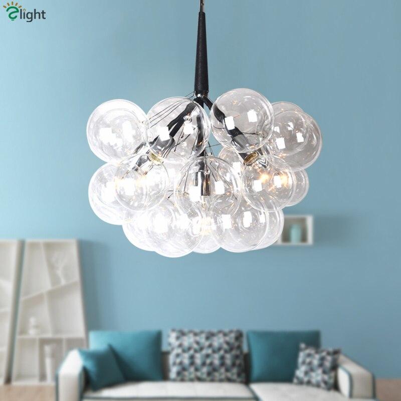 Americano Pelle Clear Glass Globes E27 Ha Condotto Infissi Lampadario Lamparas Nordic Minimalismo Sospensione Lustre Lampadario Illuminazione