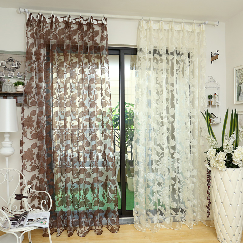Window floral Tulle white sheer fabrics curtains transparent design ...