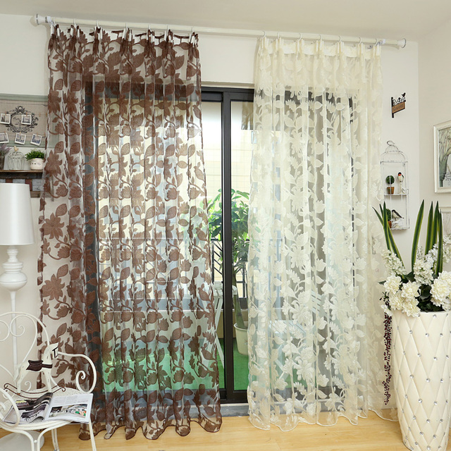 Window Floral Tulle White Sheer Fabrics Curtains Transparent Design Door  Panel Jacquard Made Ready Treatments