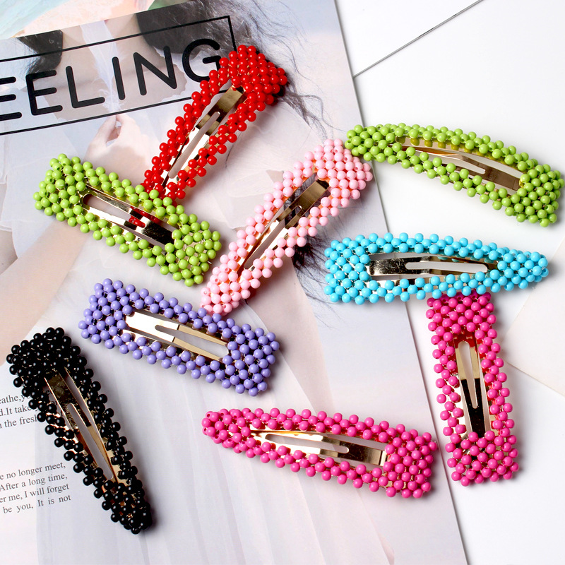 Ruoshui Korean Style Hairpins for Woman Colorful Beads Barrettes Hairgrip Girls BB Clips Hair Accessories Ladies   Headwear   Tiara