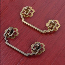 64mm Rustico retro brass furniture handle yellow brass drop rings drawer cabinet pull knob bronze dresser kitchen cabinet handle