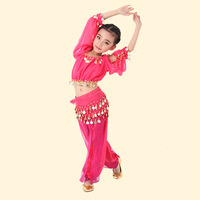 3 Colors Child Belly Dance Costume Tops+Pants+Waist Chian+Bracelet+Veil Girls Indian Dance Dress for Stage Belly Dance Wear 89