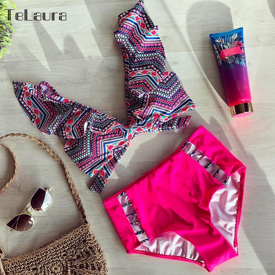 HTB12FmmO4jaK1RjSZFAq6zdLFXaV 2019 Sexy High Waist Bikini Women Swimwear Push Up Swimsuit Ruffle Bathing Suit Polka Dot Biquinis Summer Beach Wear Female